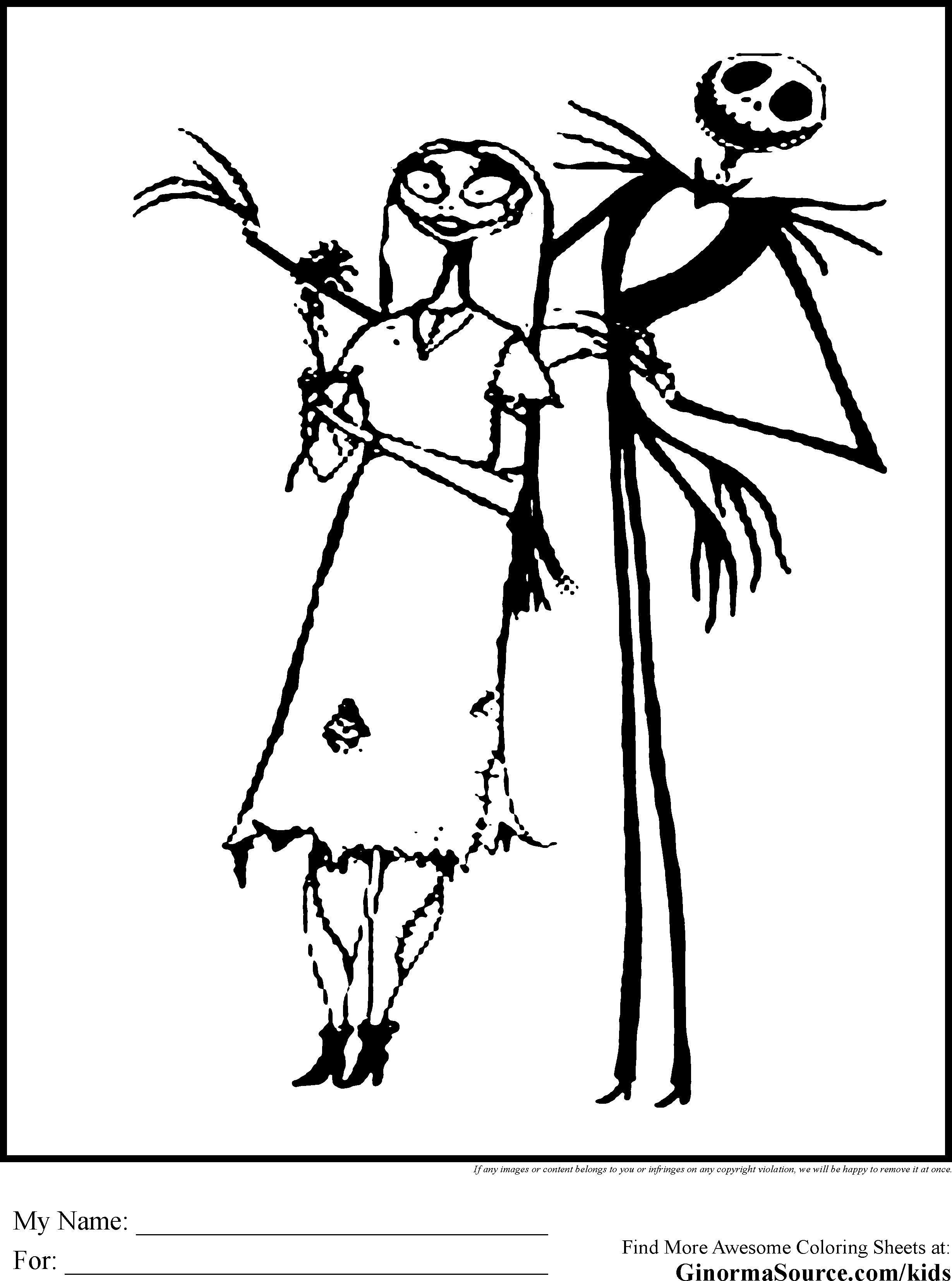 2459x3310 Nightmare Before Christmas Coloring Pages