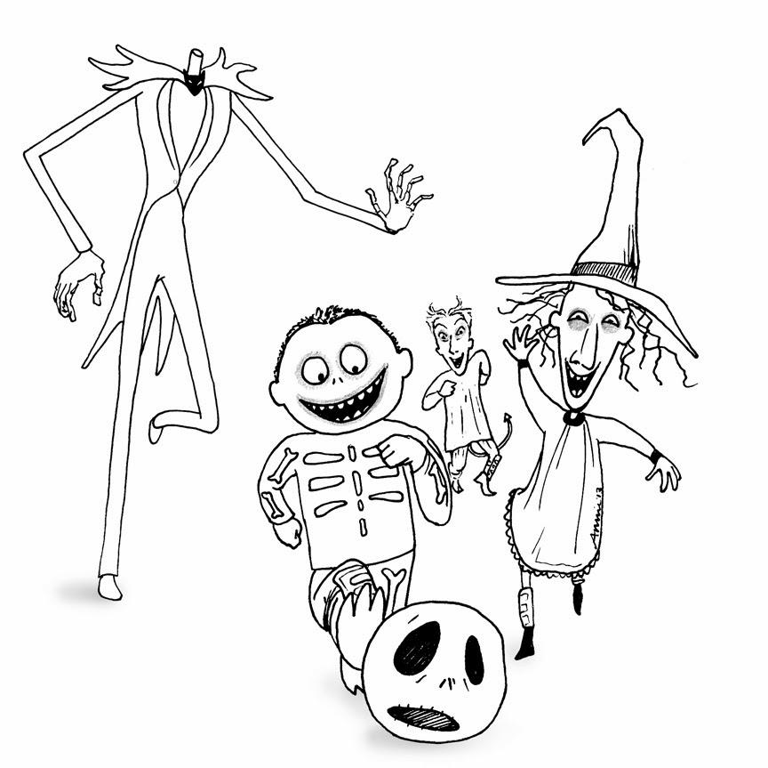 864x863 Jack Skeleton Coloring Pages Free Printable Nightmare Before