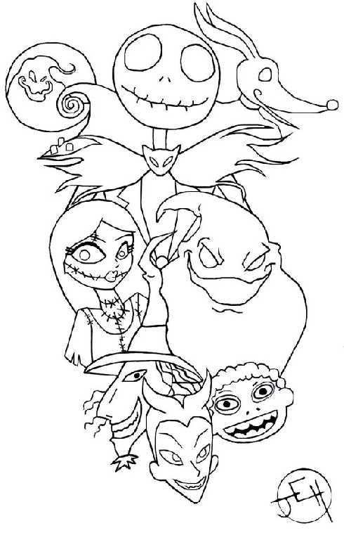 490x768 Nightmare Before Christmas Coloring Pages Inspiring The Nightmare