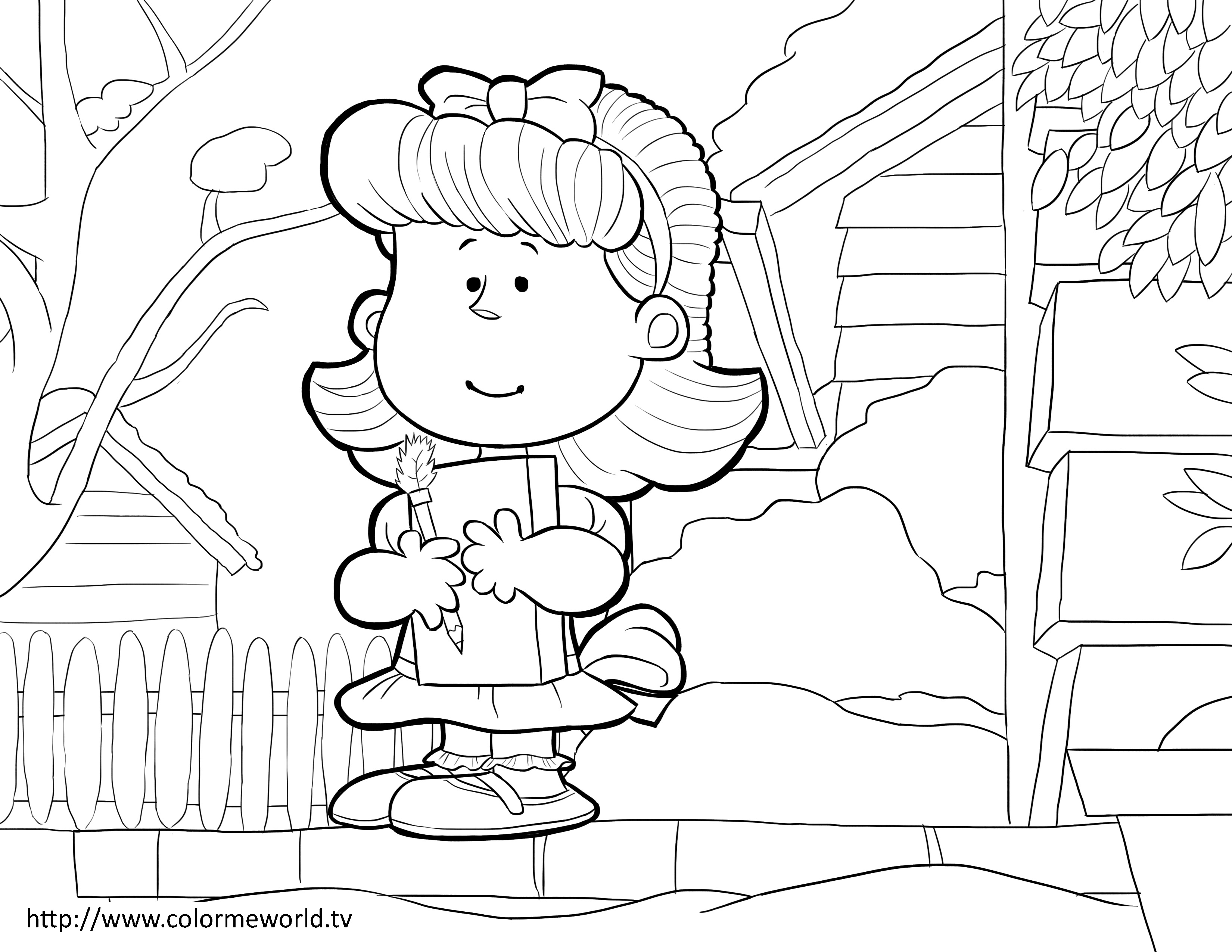3300x2550 Little Red Haired Girl Pdf Printable Coloring Page