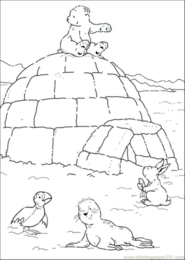 650x912 Polar Express Coloring Page Polar Bear Is Sitting On The House