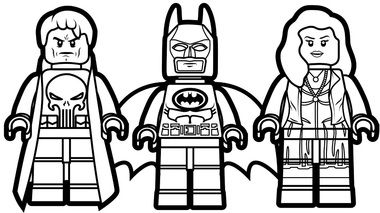 1280x720 Lego Batman And Punisher Scarlet Witch Coloring Book Pages