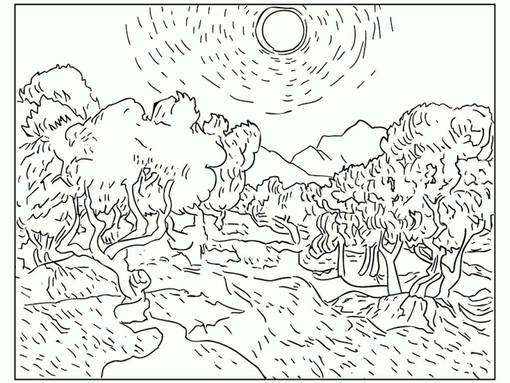 1024x768 Famous Artists Coloring Pages Edvard Munch Painting The Scream