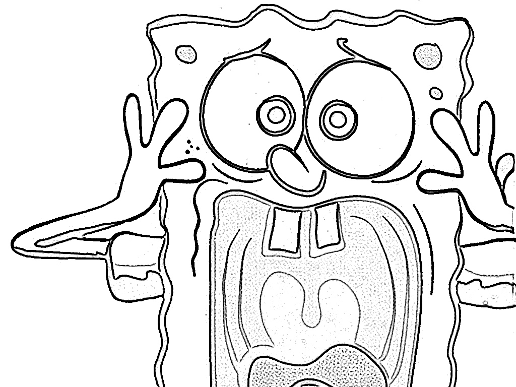 1024x768 Spongebob Coloring Pages Scream