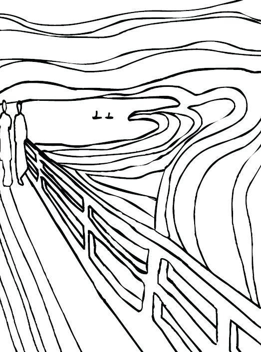 523x705 The Scream Coloring Sheet Coloring Pages And Fuzzy Free Printable