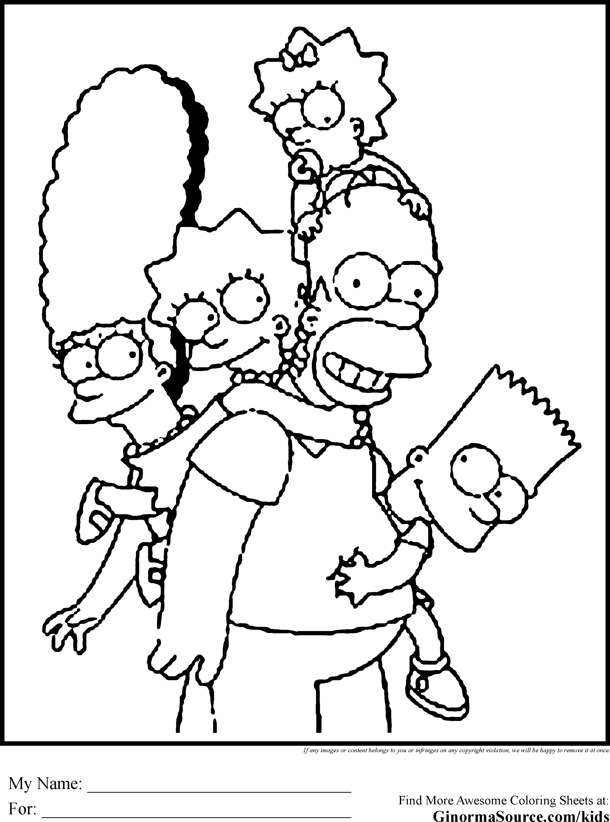 2459x3310 The Simpsons Coloring Pages To Print Within
