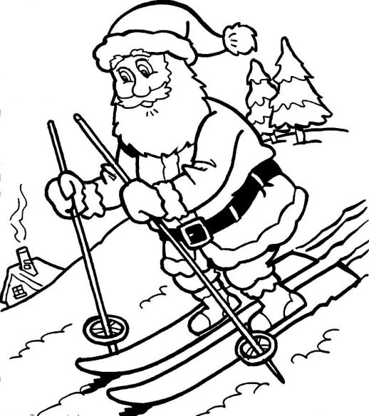 518x585 A Santa Claus Enjoying The Snowy Day Christmas Coloring Pages
