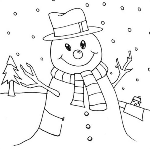 600x596 Mr Snowman On Christmas Love Snowy Rain Coloring Page
