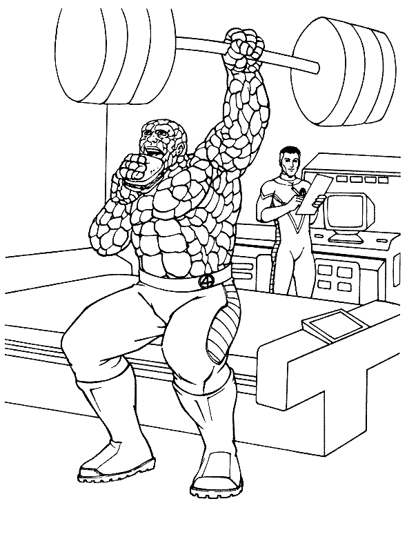 590x781 Fantastic Four The Thing Practicing Weightlifting Fantastic Four
