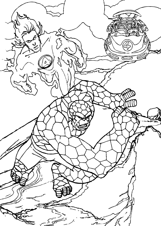 565x792 Human Torch And The Thing Coloring Pages