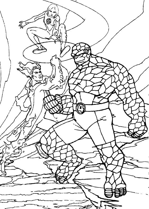 565x792 Invisible Woman, Human Torch And The Thing Coloring Pages