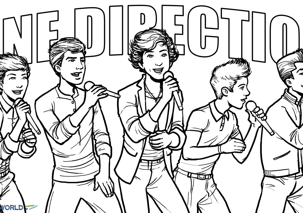 1024x720 One Direction Logo Coloring Pages One Direction One Thing
