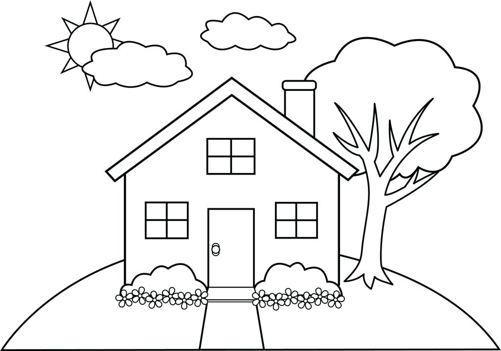 1024x718 Coloring House For Kids House Coloring Page Free Printable House