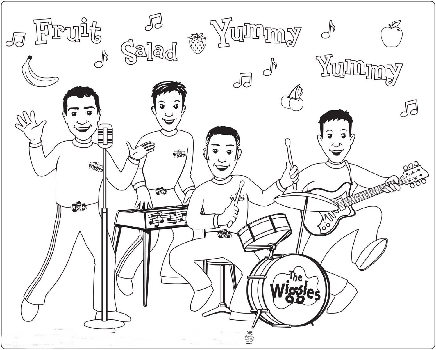 1500x1202 Wiggles Coloring Pages Coloringpagehub