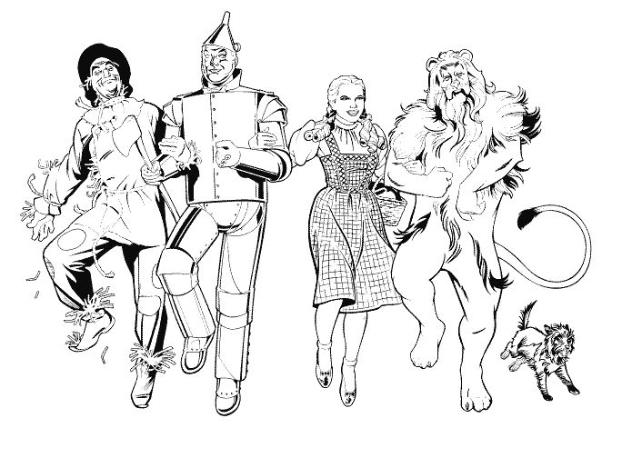 684x504 Scarecrow, Tin Man, Dorothy And Cowardly Lion Coloring Page