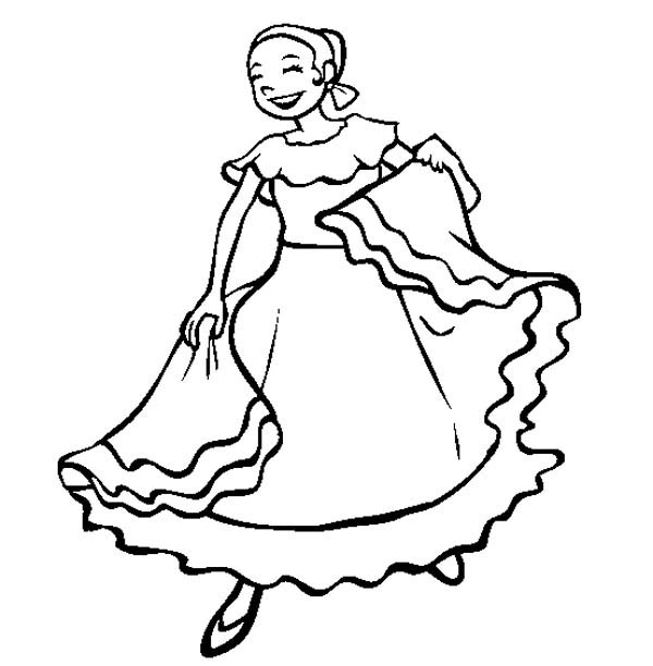 600x612 Mexican Folk Dancer Girl Coloring Page Preschool