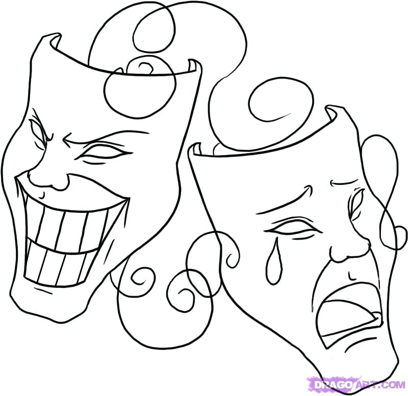 800x777 Drama Mask Coloring Pages