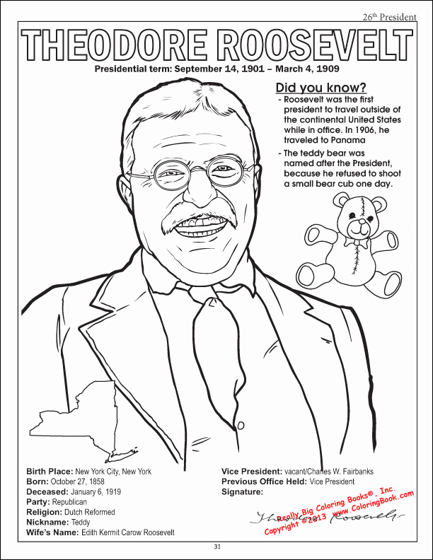 612x792 Teddy Roosevelt Coloring Page From The American Presidents Jeans