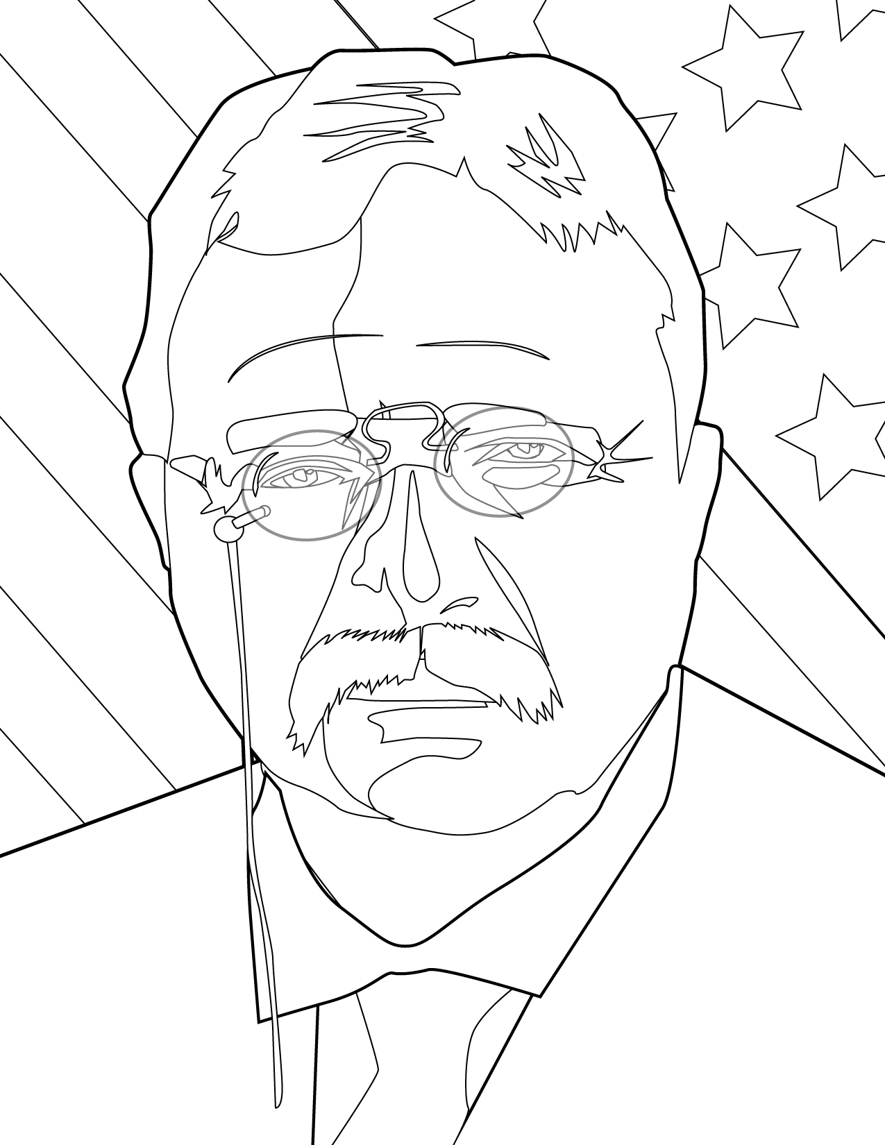 1275x1650 Theodore Roosevelt Coloring Page