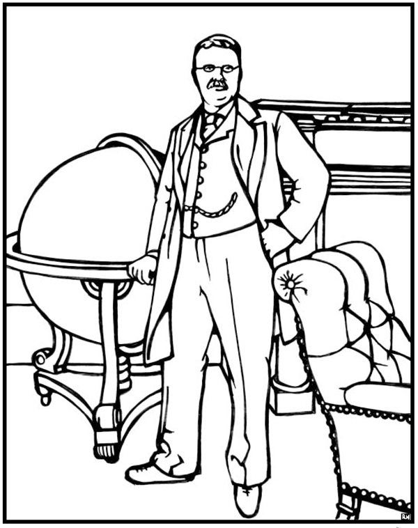 600x758 Theodore Roosevelt Coloring Page Purple Kitty