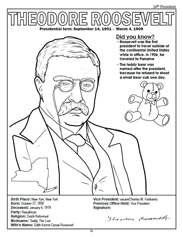 612x792 Theodore Roosevelt Coloring Page Printable
