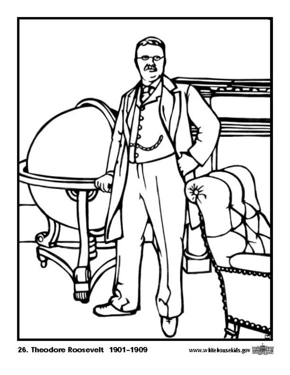 580x750 Coloring Page Theodore Roosevelt