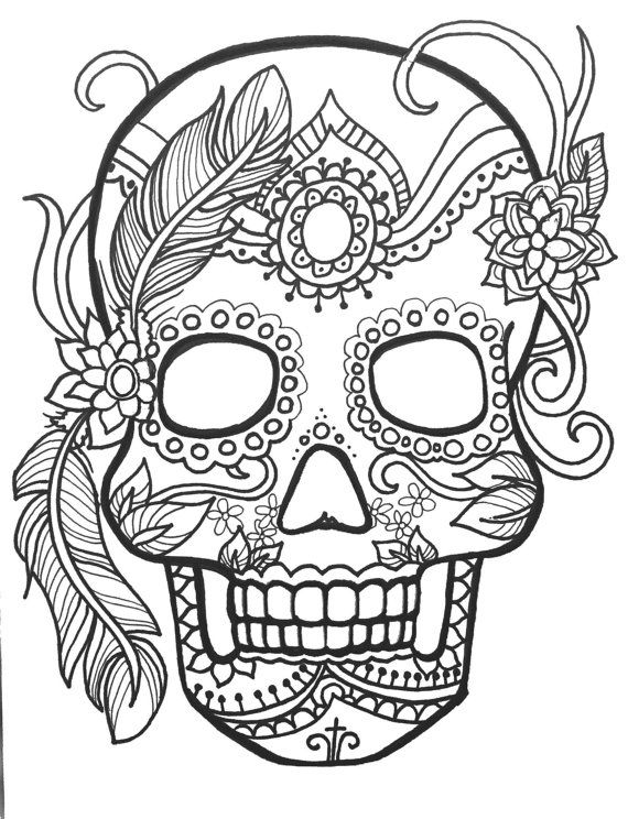 570x744 Sugar Skull Day Of The Dead Coloringpages Original Art Coloring