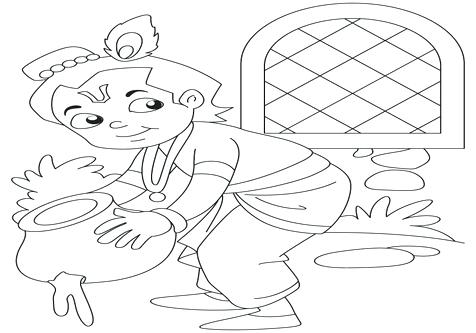 476x333 Krishna Coloring Pages Butter Page Image Images Baby The Thief