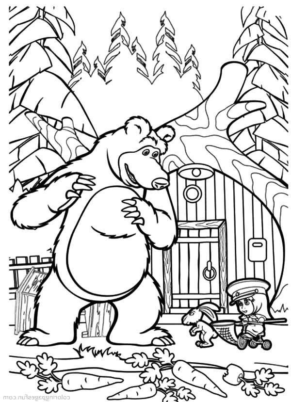 600x829 Masha The Bear Catching Carrot Thief Coloring Pages Masha