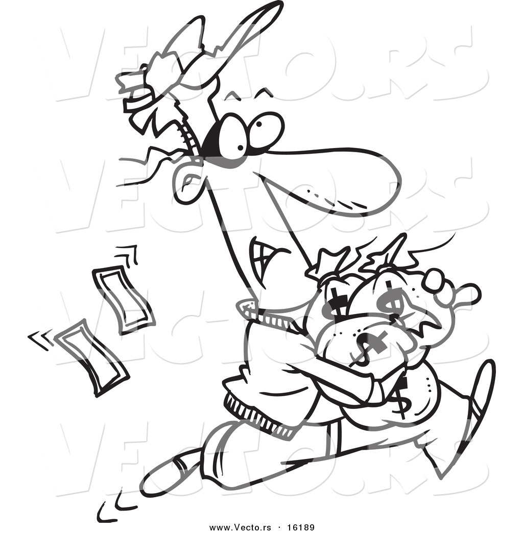 1024x1044 Vector Of A Cartoon Robber Getting Away With Bags Of Cash