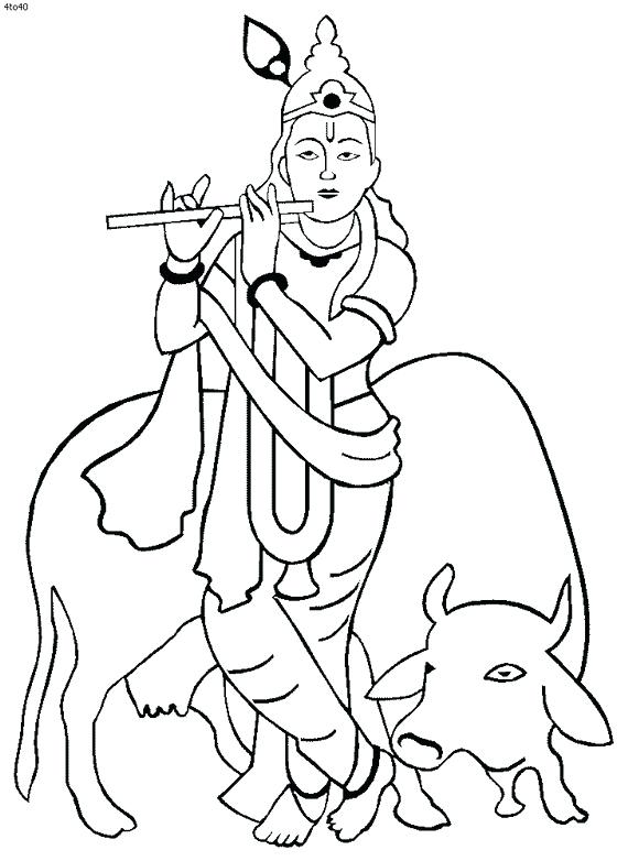 570x782 Lord Krishna Coloring Pages Coloring Pages Of Krishna Ba