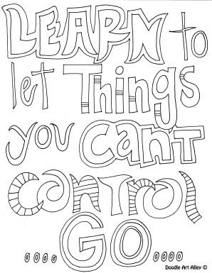 298x385 Learn To Let Things You Can't Control Go!!! Quote Color Page
