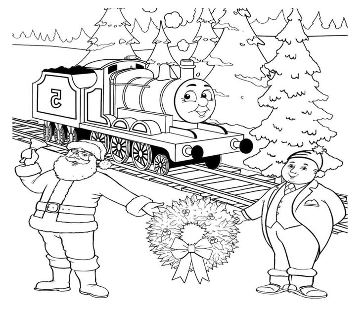 Thomas Christmas Coloring Pages