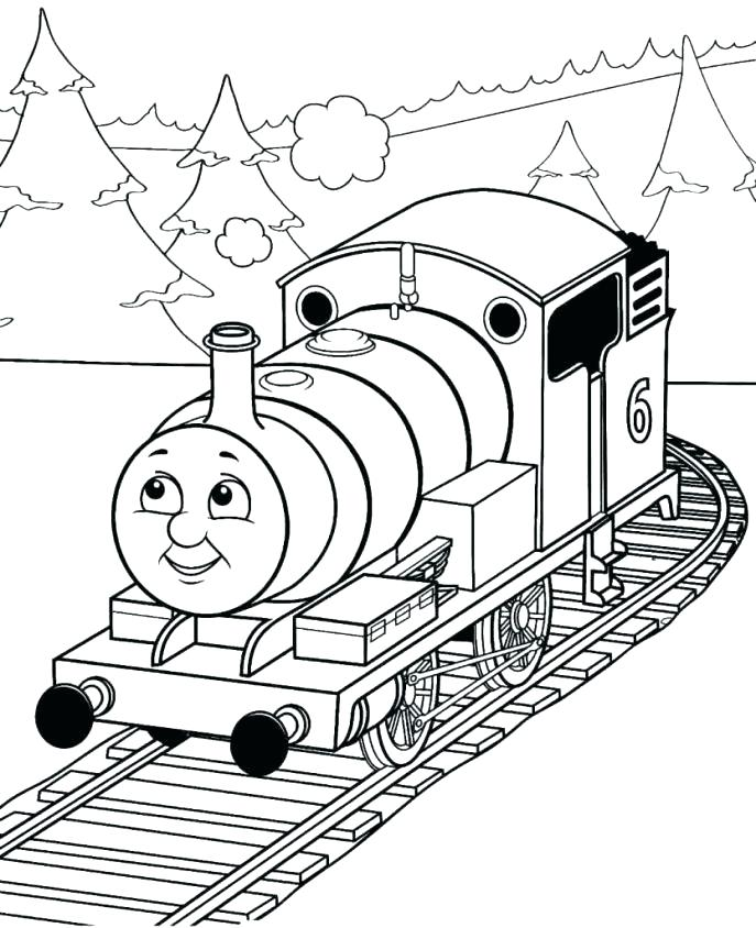 687x844 Thomas And Friends Printables Together With Train Coloring Page