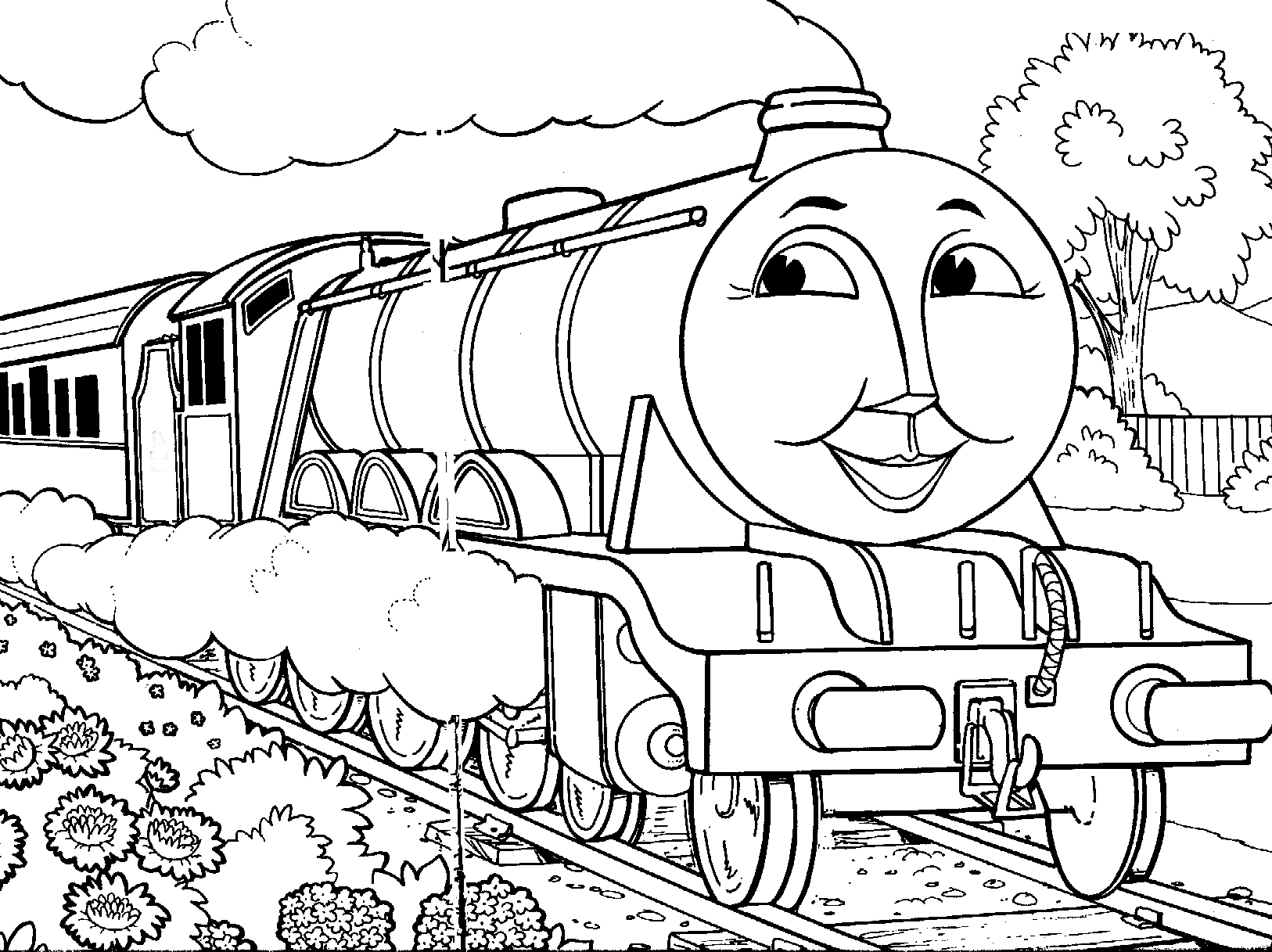 1626x1217 Train Coloring Page With Trains And Railroads Pages For Kids