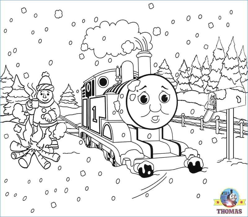 800x700 Thomas On Snow Christmas Coloring Pages