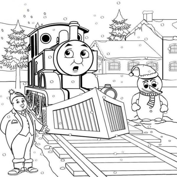 600x600 Thomas The Train And Friends On Winter Coloring Pages