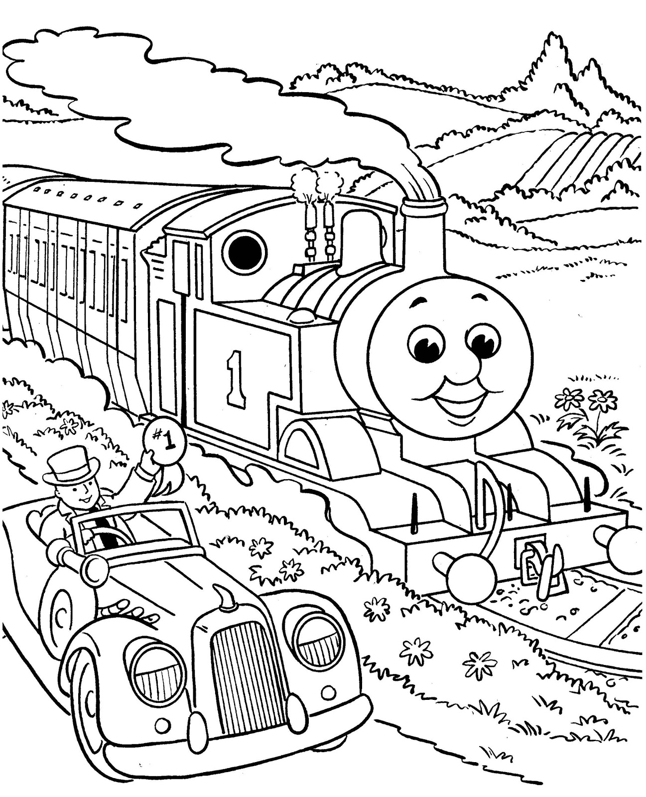 1297x1600 Thomas The Train Coloring Pages