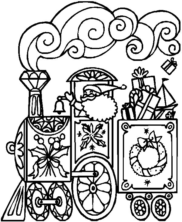 600x733 Christmas Coloring Pages To Print Trains Best Train Coloring