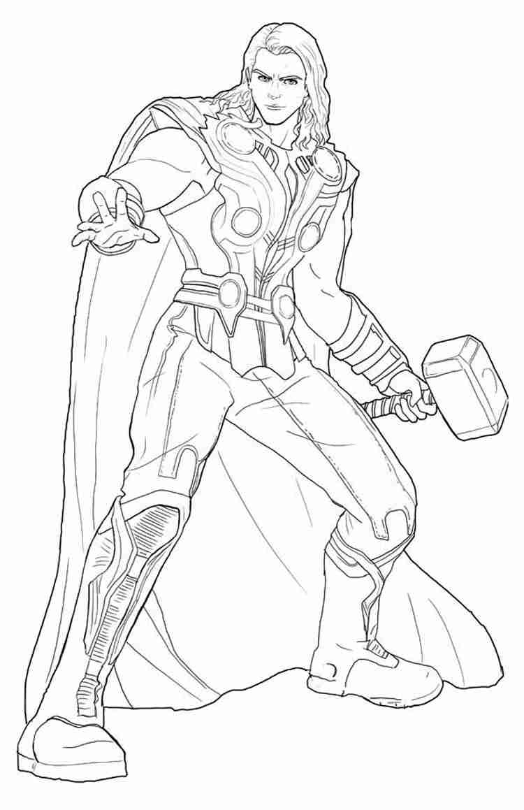 750x1159 Survival Thor Coloring Pages Marvel Page Free Printable