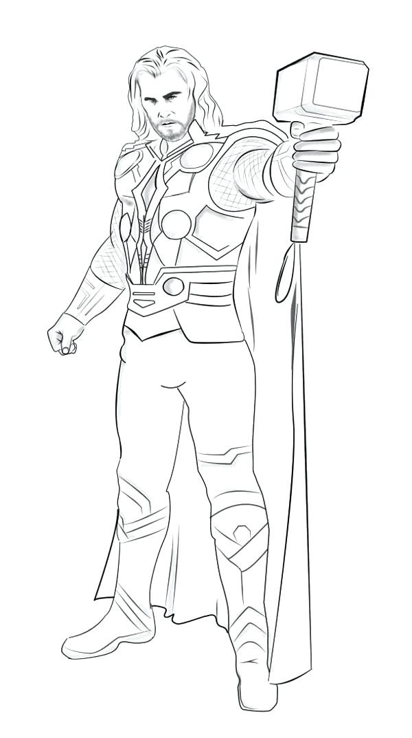 600x1073 Easy Thor Coloring Pages Elegant Thor Coloring Page Marvel Color