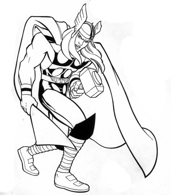 600x686 Marvel Hero Thor Coloring Page