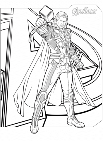 352x480 Marvel Thor Coloring Pages Avengers Thor Coloring Page Free