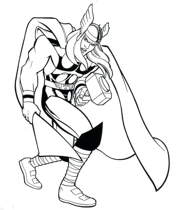 600x686 Thor Coloring Page Printable Coloring Pages For Kids Thor Coloring