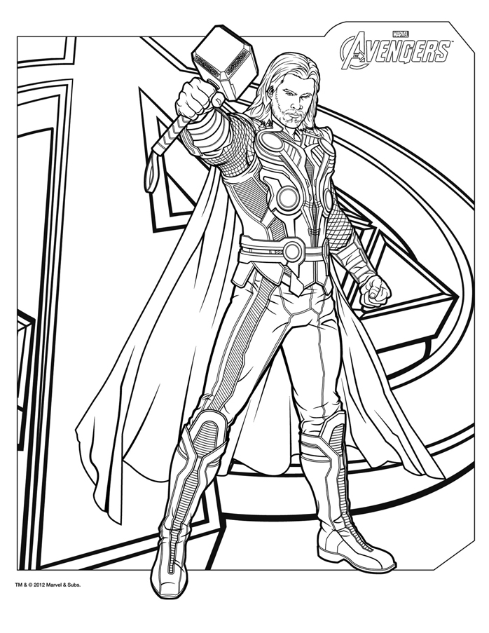 698x903 Coloriage Thor