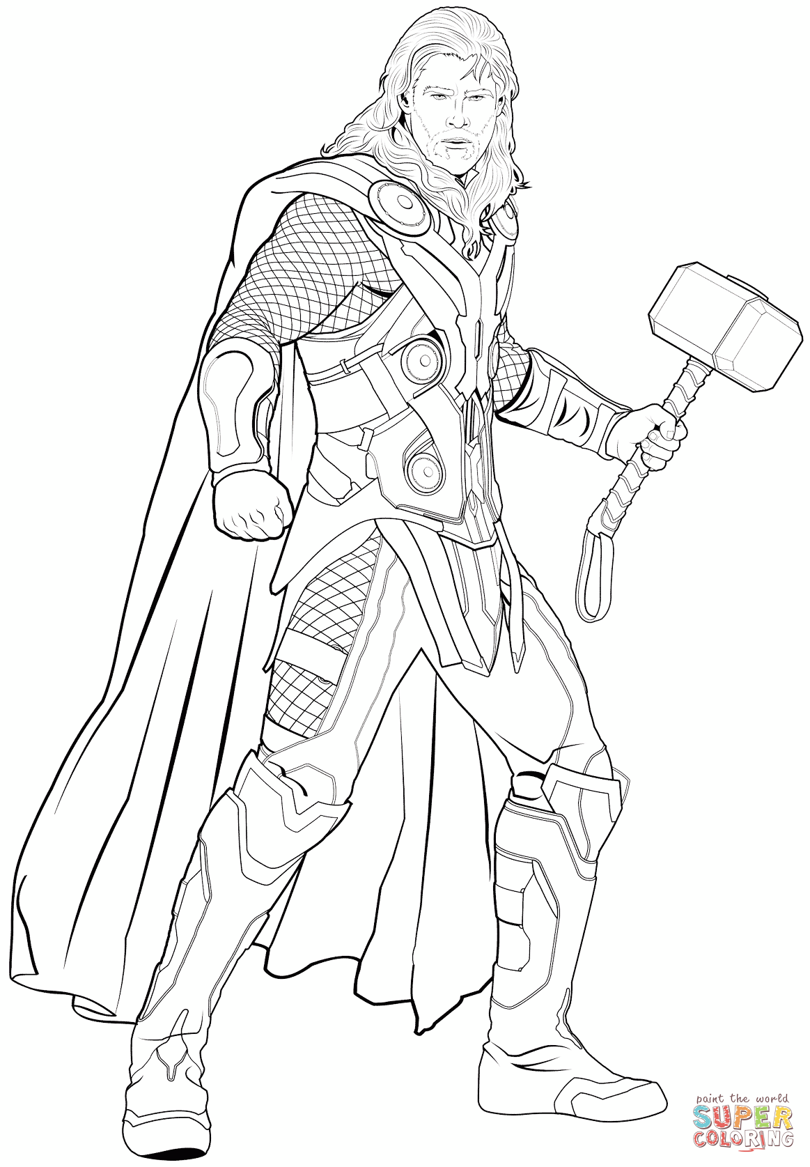 1163x1675 Avengers Thor Coloring Page Free Printable Pages Also