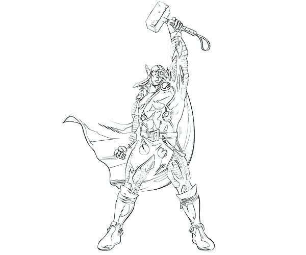 600x500 Thor Coloring Sheet Winning Sign Coloring Page Thor Hammer