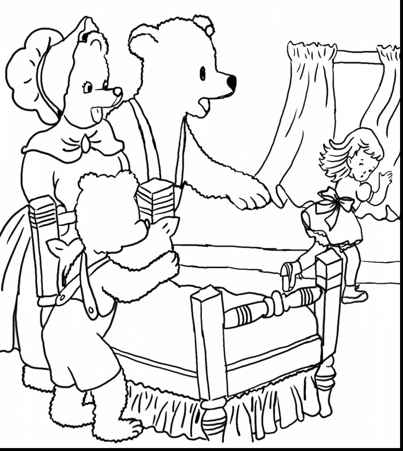 1377x1540 Goldilocks And The Three Bears Coloring Page