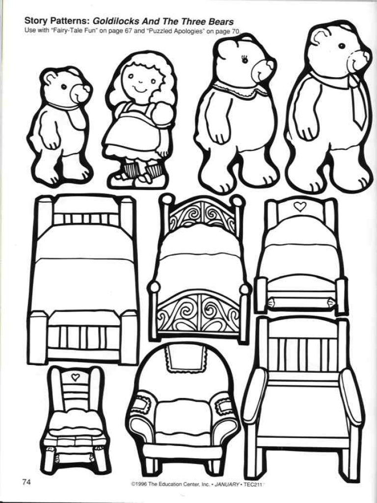 768x1024 Now Three Little Bears Coloring Pages Goldiloc