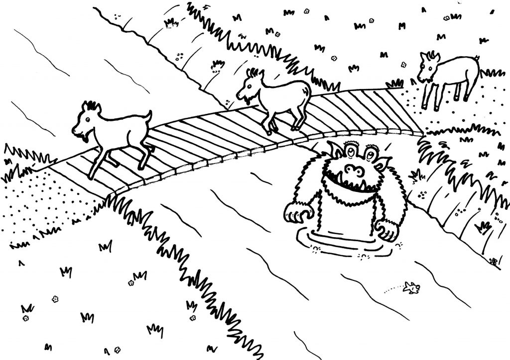 1024x724 Billy Goats Gruff Coloring Page